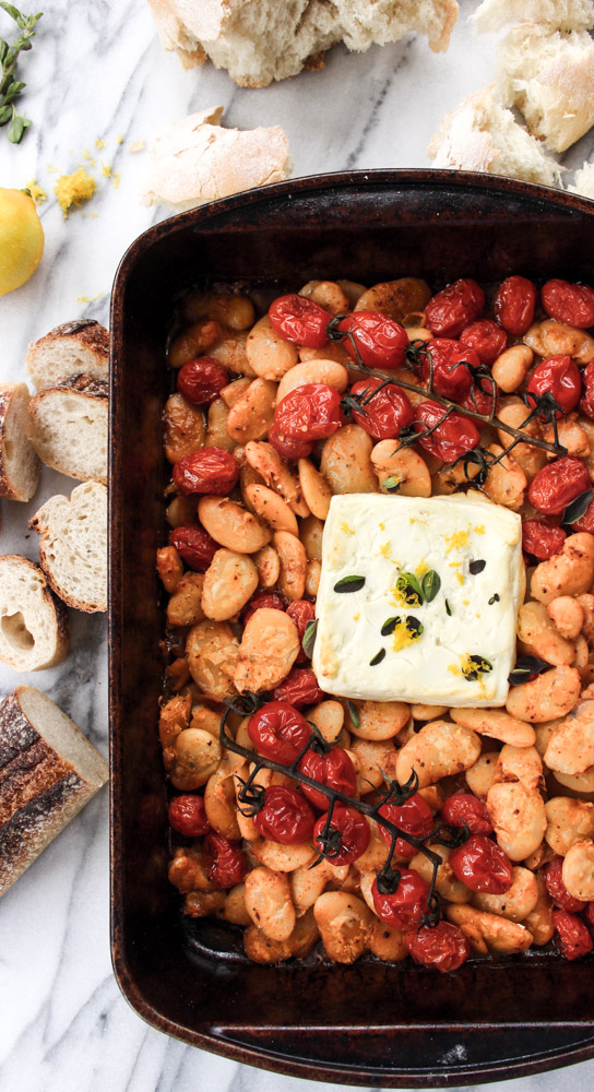 Baked gigante beans with feta and tomatoes | Me & The Moose. This vegetarian dinner, lunch, appetizer, or side is full of fiber, protein, good fats, and sweet syrupy roasted tomatoes. #meandthemoose #dinner #meatlessmonday #vegetarian #bakedfeta #cheese #roastedtomatoes #tomatoseason #sheetpandinner