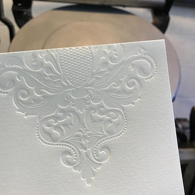 So excited about the blind emboss on these wedding invitations!! #letterpress #weddinginvitations
