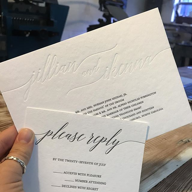 Back on the press today! If your wedding is in the fall or winter and haven't ordered your wedding invitations yet the time is now! #letterpress #triadweddings #highpointnc #weddinginvitations