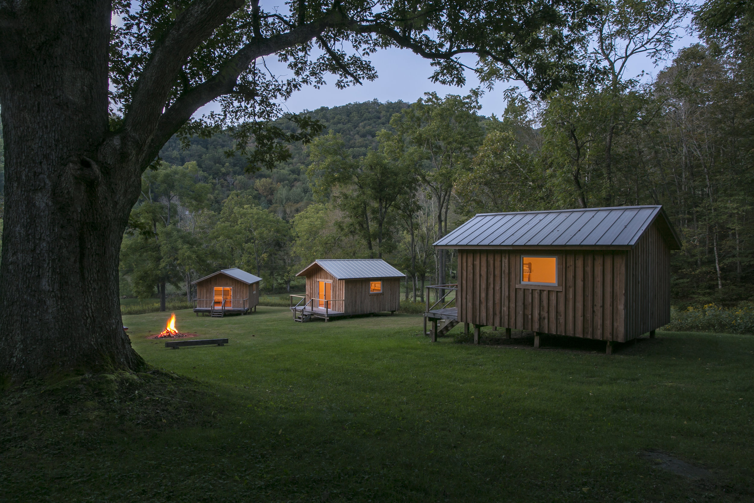 Cabins at the Training Grounds Evening