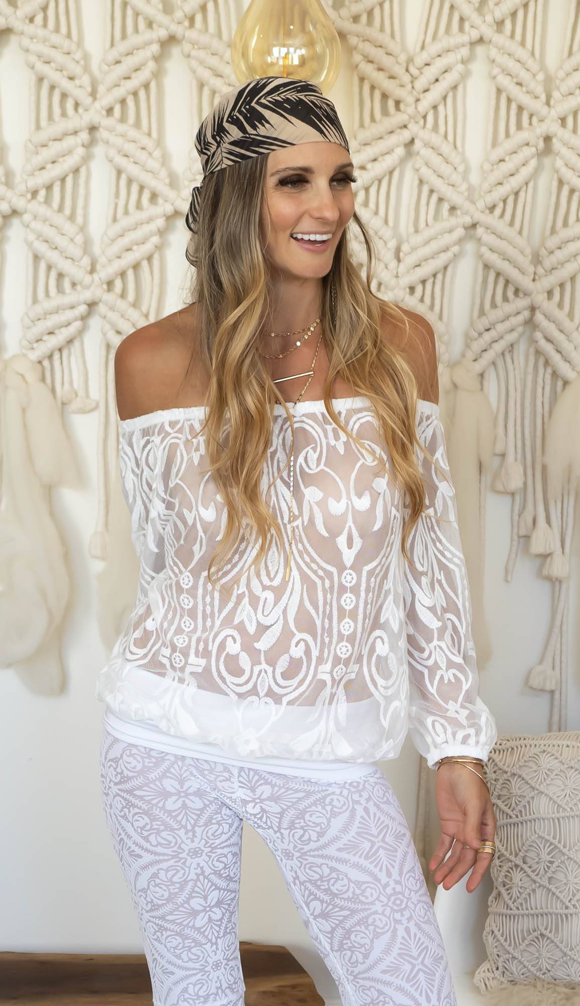 The Playa Top  in lace and  Sophie Bells in White