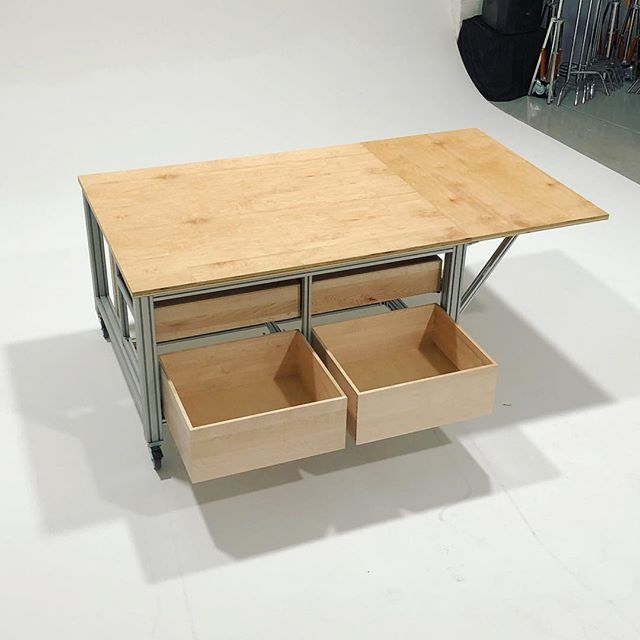 Custom art-prep table for TanyaBonakdar Gallery.  Solid maple drawers on Blum slides, collapsible table extension, and multi paper-roll rack. #youngbukfabrications