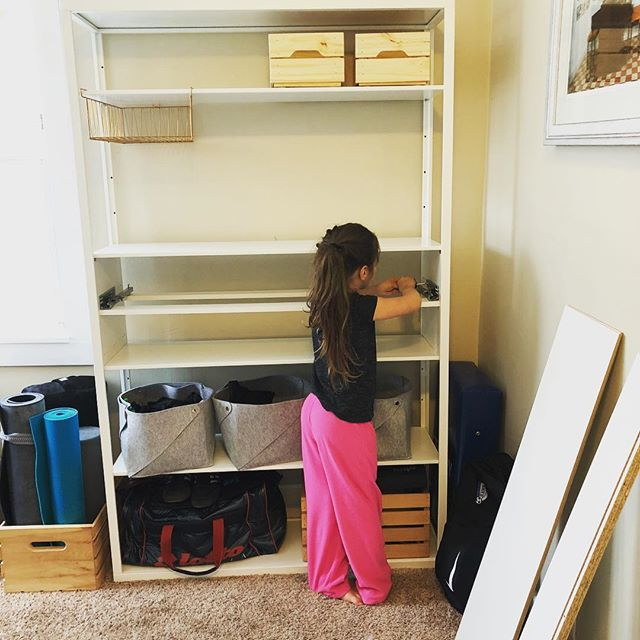 Ophelia's building my new bookcase for my office. #girlsrock #stronggirls
