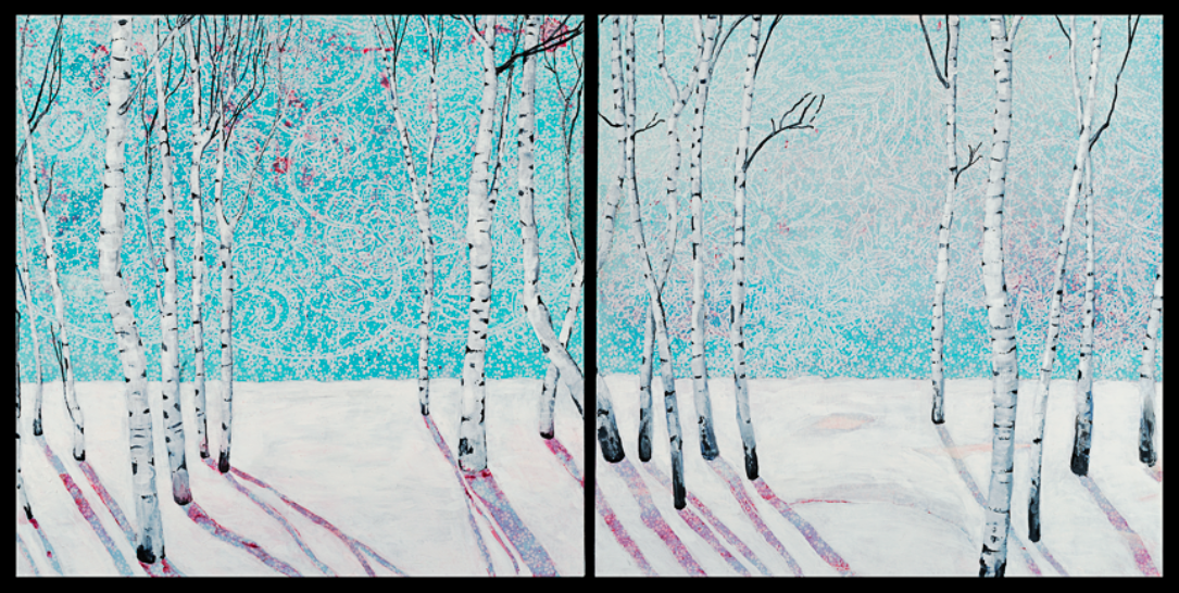"""""""Adorn Snow"""", an acrylic on patterned paper/canvas diptych by Lynn Van De Water, will be in the Salida Artists group show featured at the March Creative Mixer."""