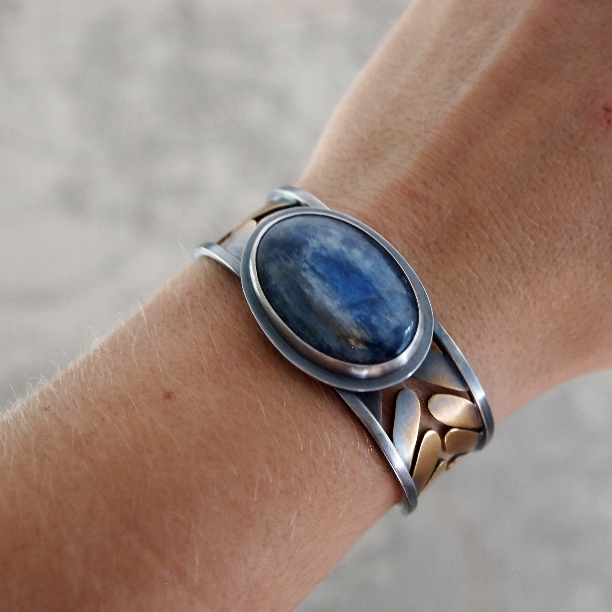 handcrafted kyanite, sterling silver, and brass cuff bracelet inspired by wheat - meritmade