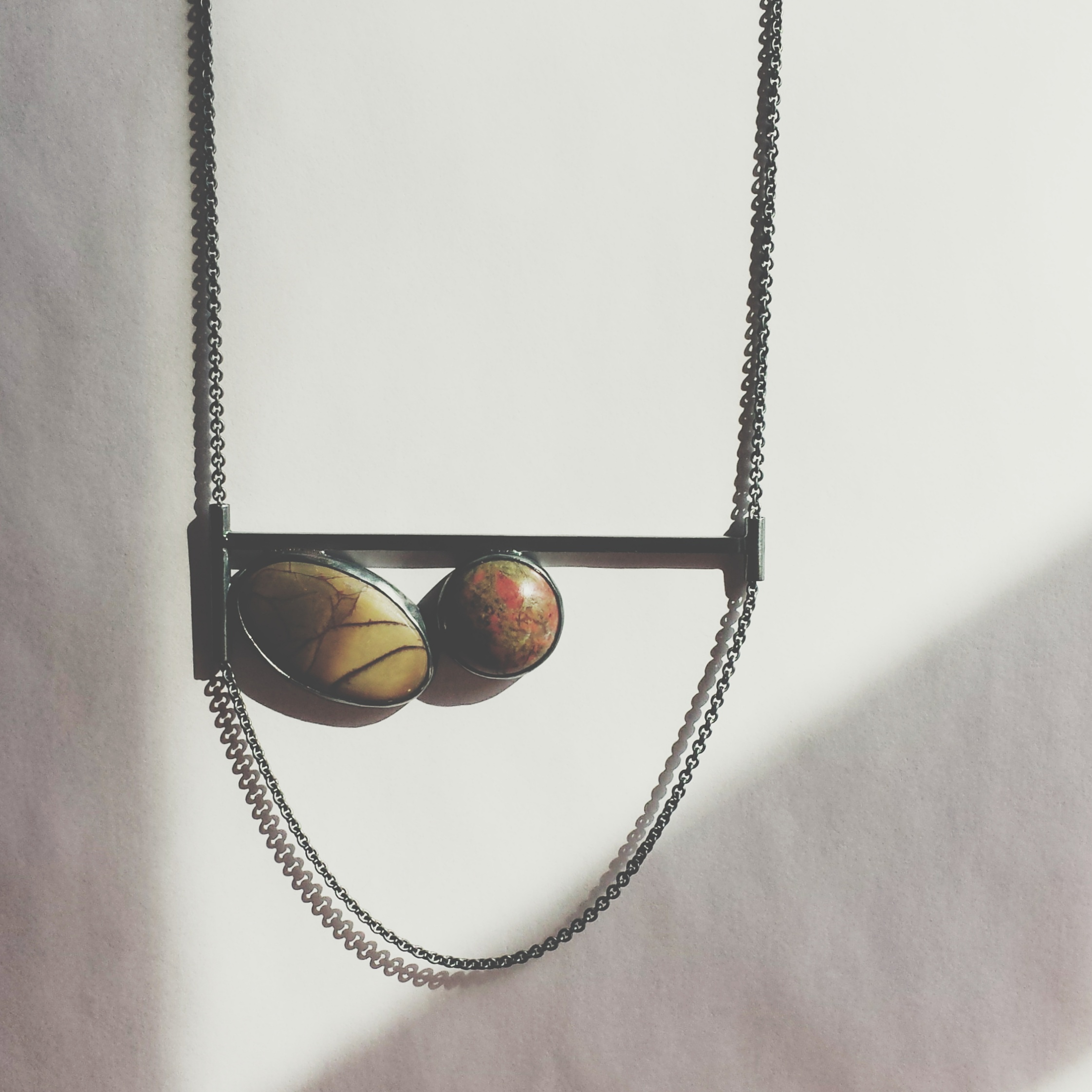 handcrafted sterling silver and jasper balance necklace - meritmade