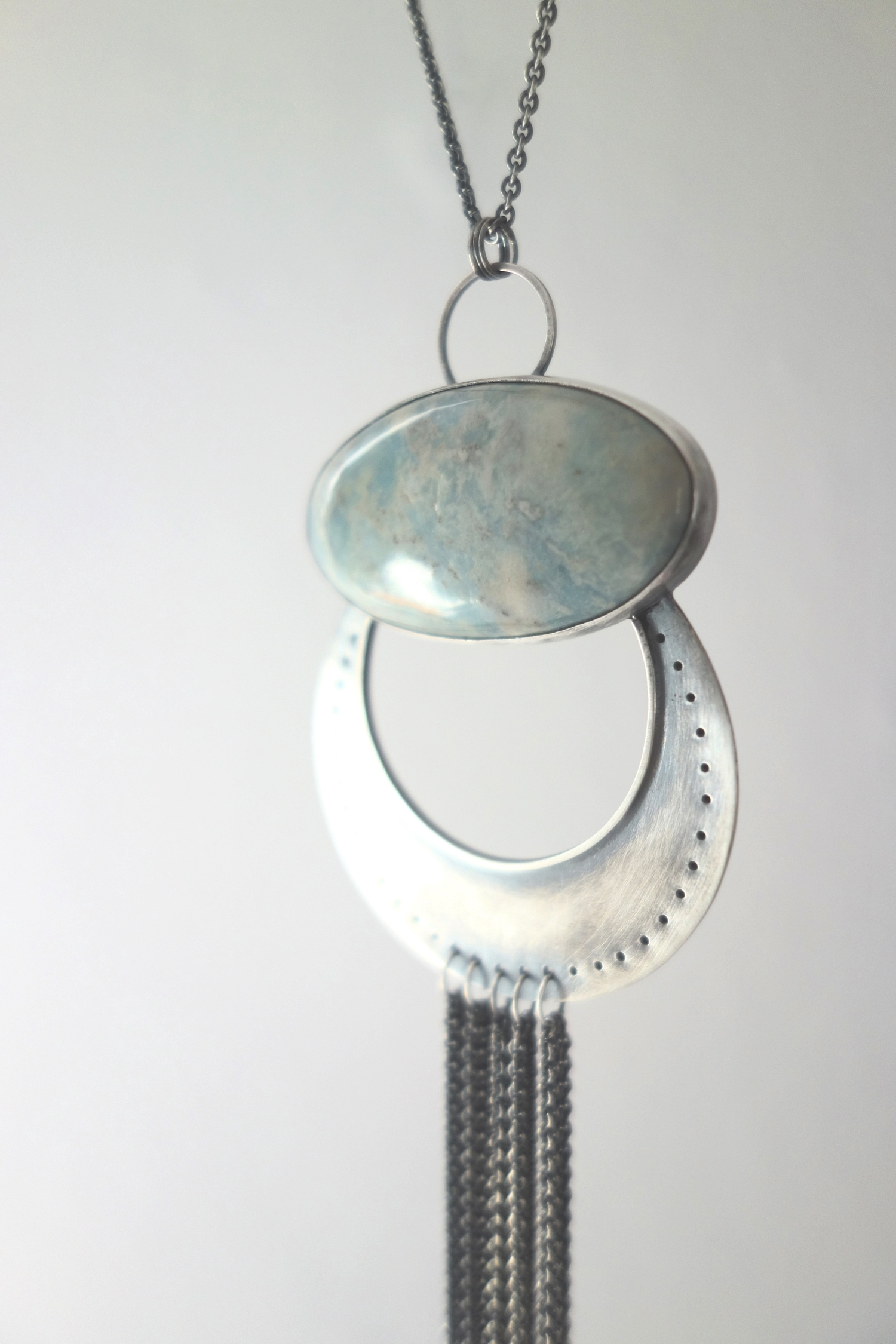 handcrafted sterling silver and aquamarine statement necklace - MeritMade