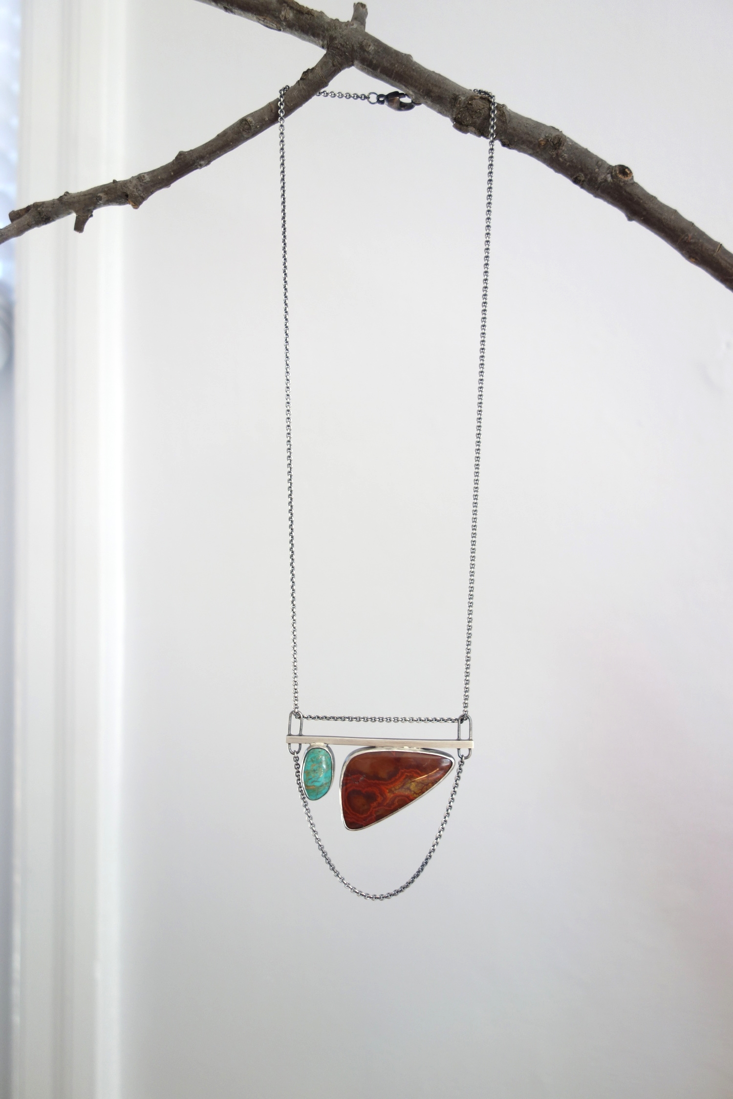 handcrafted sterling silver, turquoise, and red jasper statement necklace - meritmade