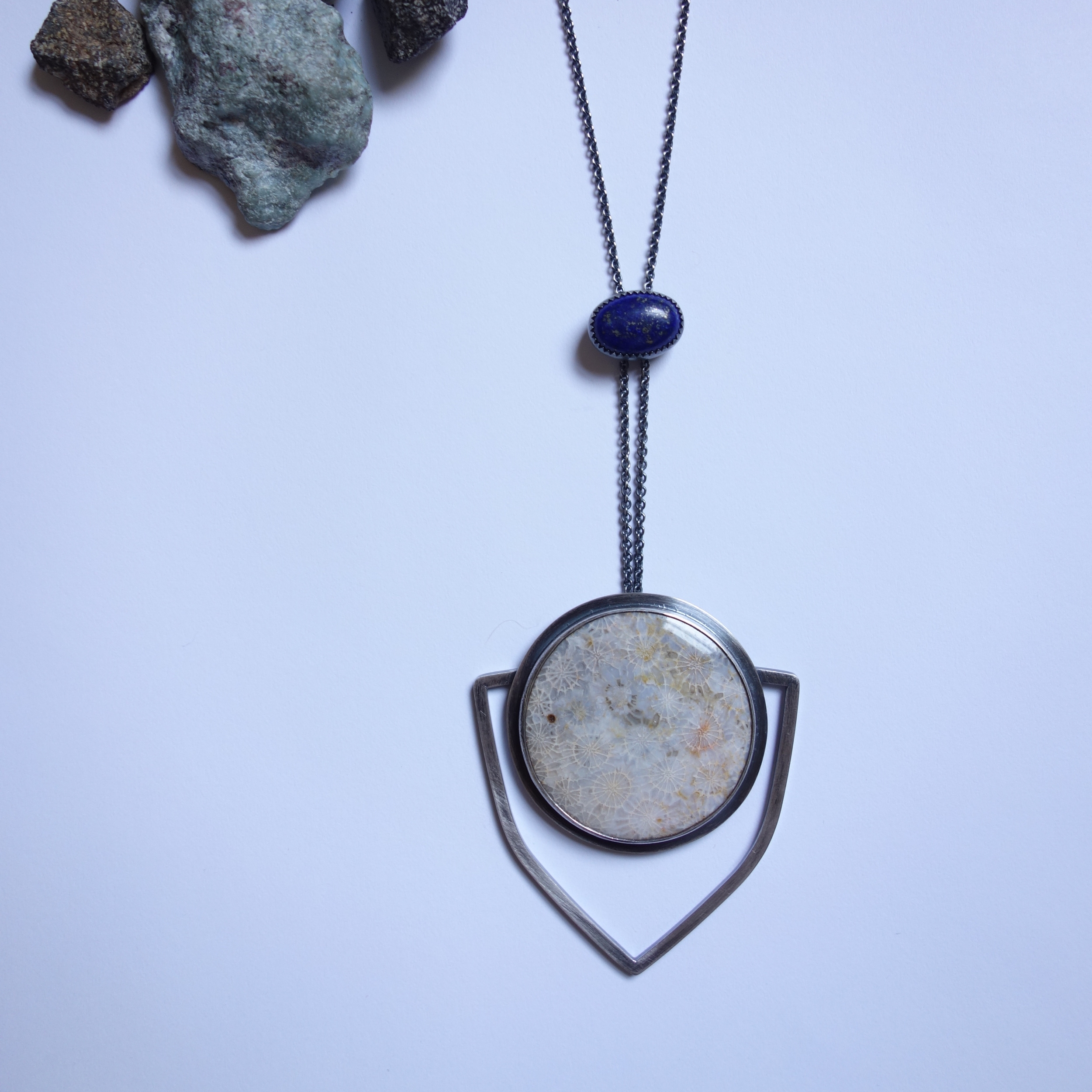 Fossilized Coral and Lapis Necklace - Mertimadekc.com