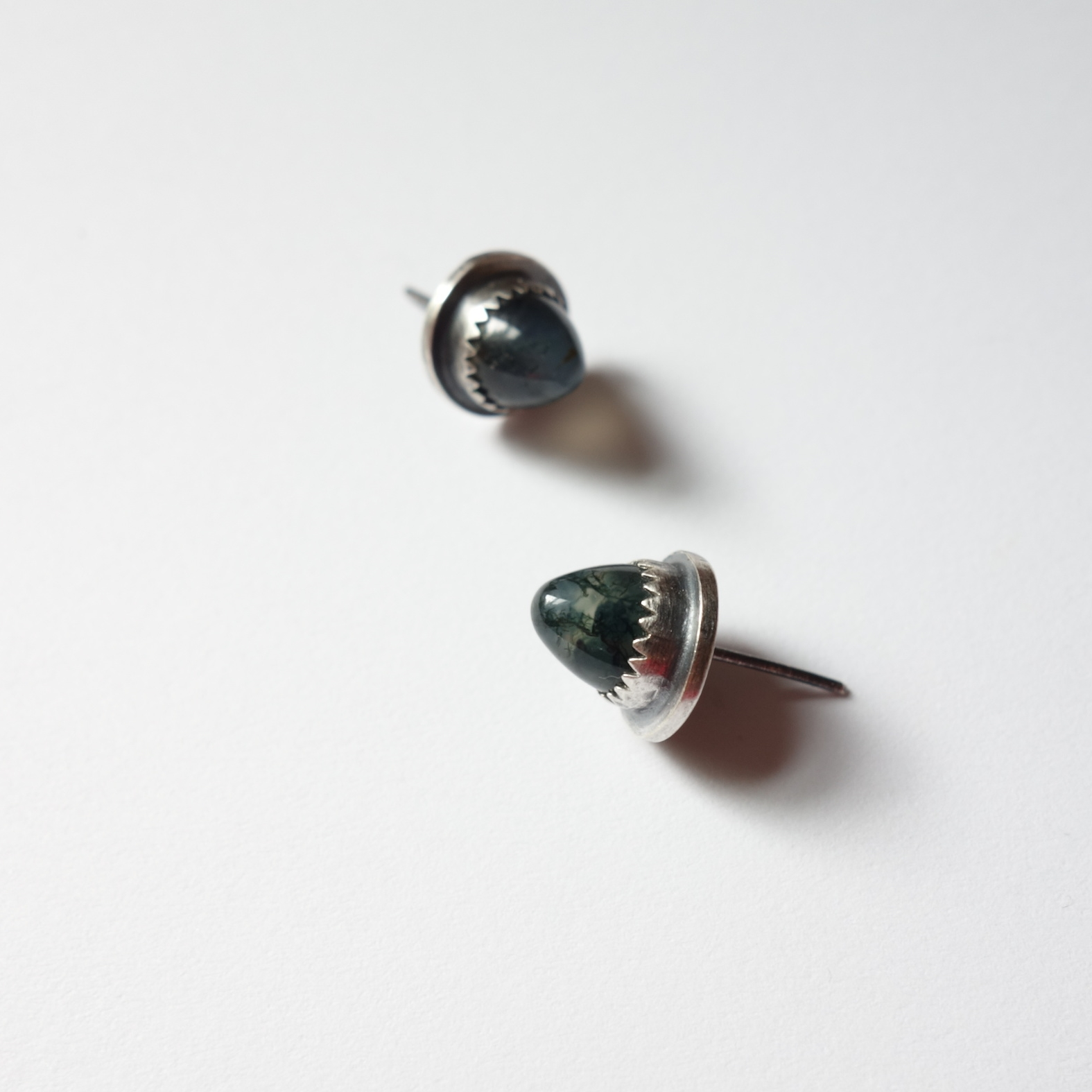 Acorn Earrings (moss agate) - meritmadekc.com