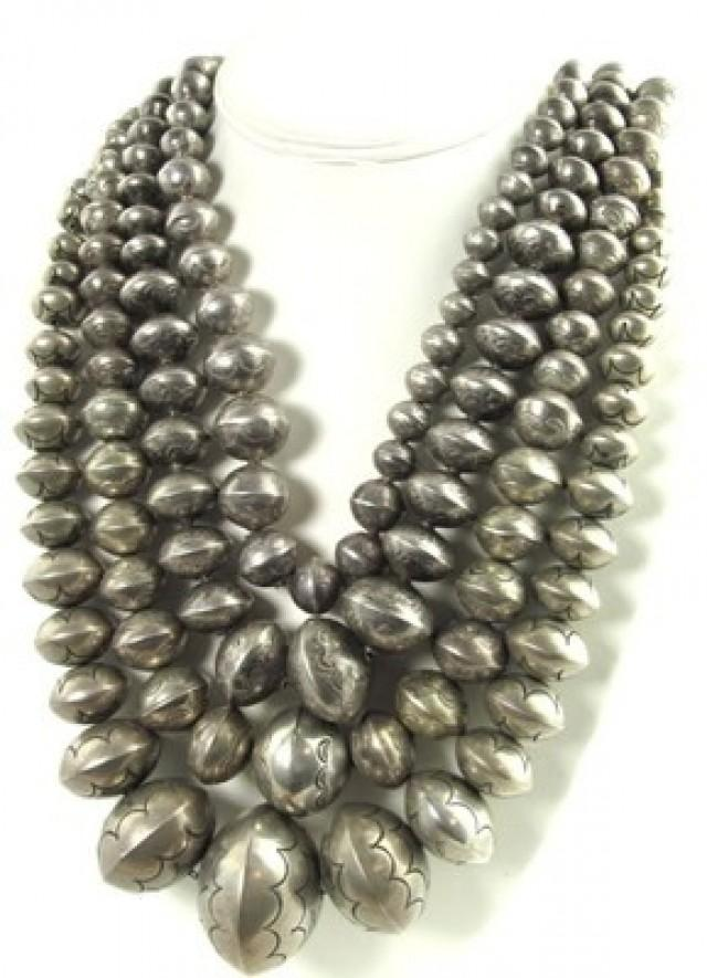 native american silver beads