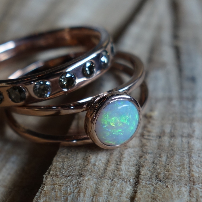 Opal and Rose Gold Wedding Set - MeritMade