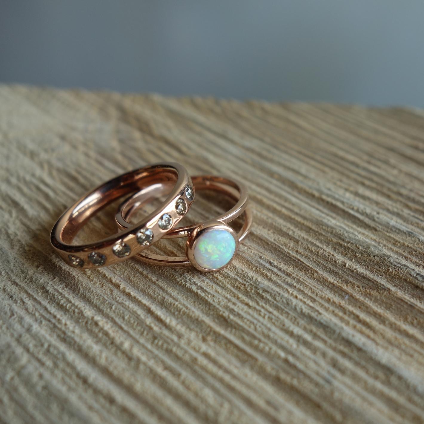 Opal, Cognac Diamonds, Rose Gold Wedding set - MeritMade