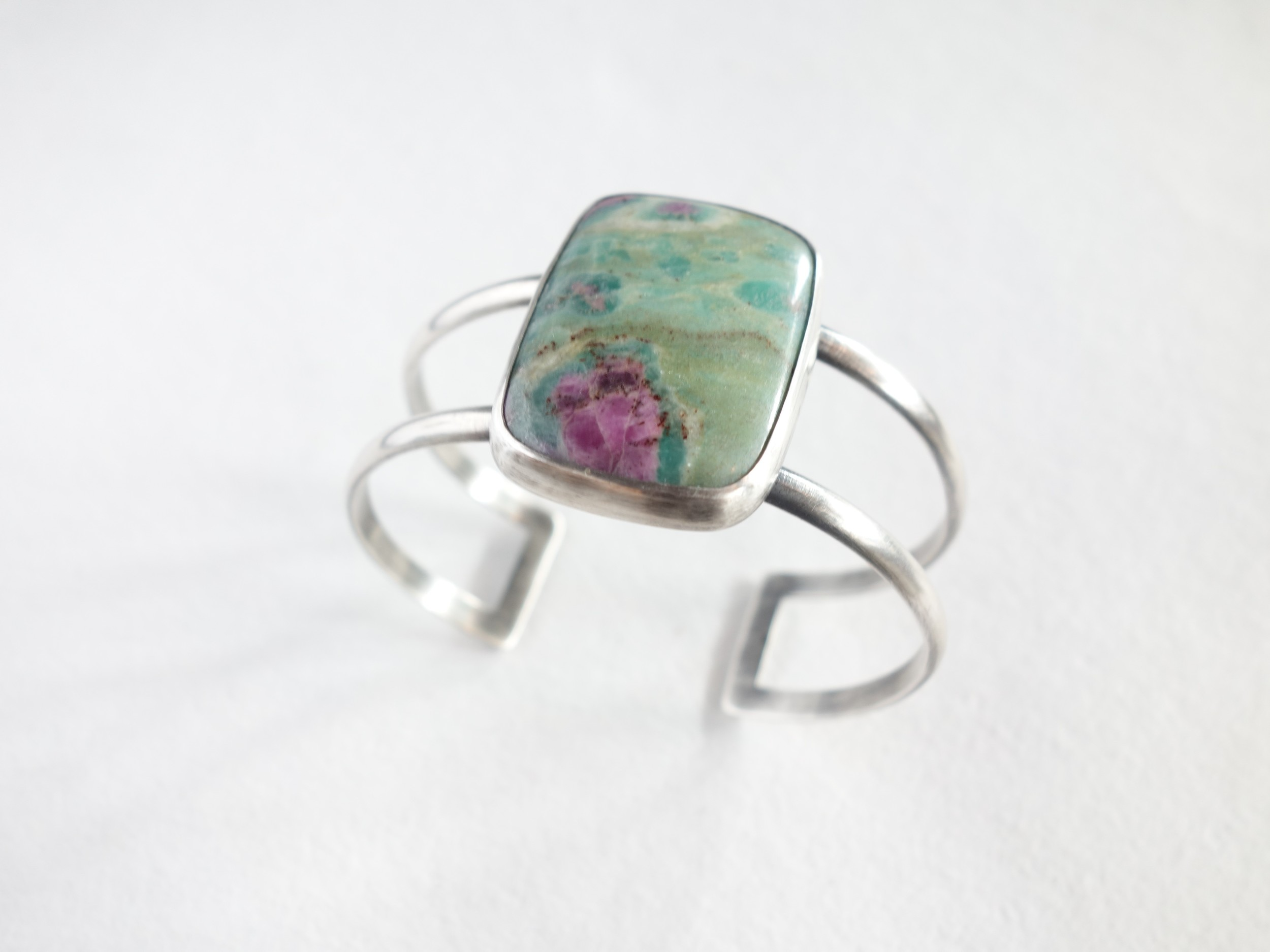 Ruby in Fuschite Cuff Bracelet by MeritMade