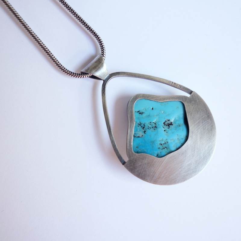 necklace cut out unique jewelry custom handmade silversmith sterling silver ladysmith metal smith heirloom turquoise