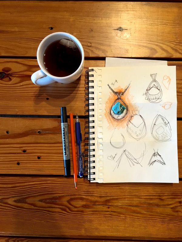 sketch draw dream design jewelry custom handmade silversmith sterling silver ladysmith metal smith heirloom turquoise