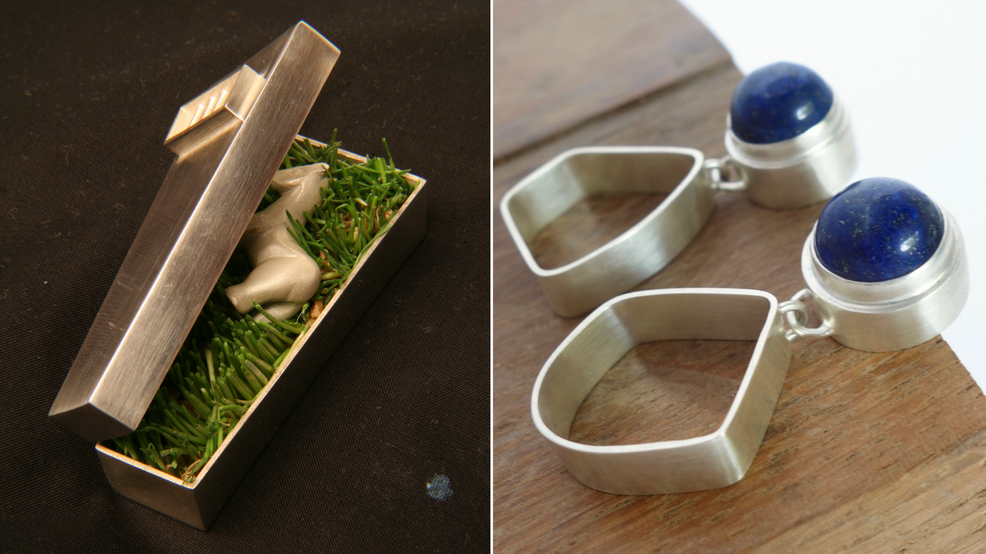 Left: Piece I made in college (2002?). Yes, it is weird, but it's an example of a hollow form Right: Lapis earrings (2018)