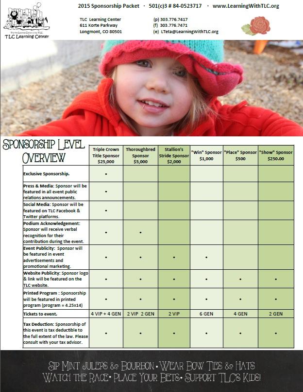 Sponsorship packet sample page