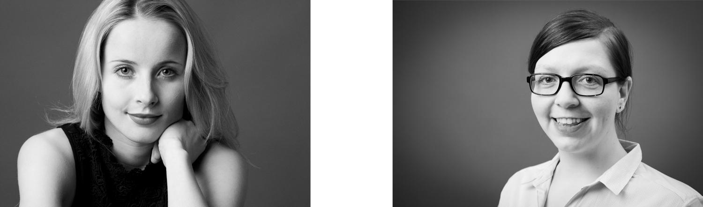 Zwei Bewerbungsfotos in schwarz-weiß