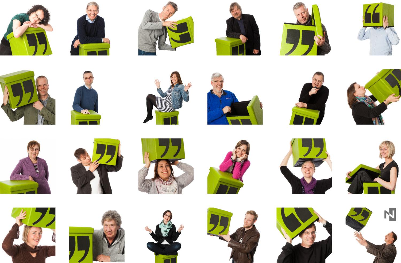 Kreative Mitarbeiterfotos vor weißem Hintergrund