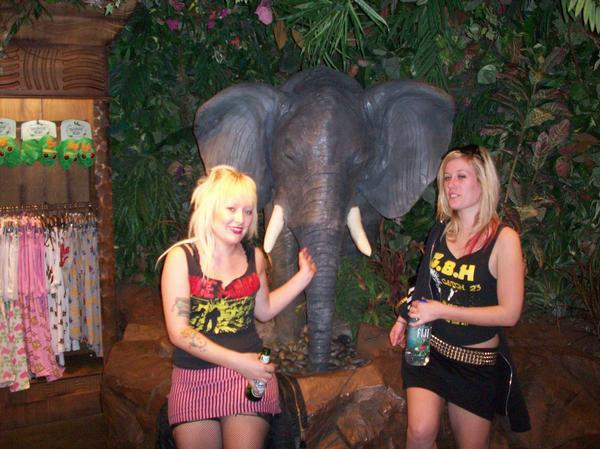 Lindsay and I at that one jungle bar in Vegas. Wearing her Vice Squad shirt and doing what we always do...pet robot elephants.