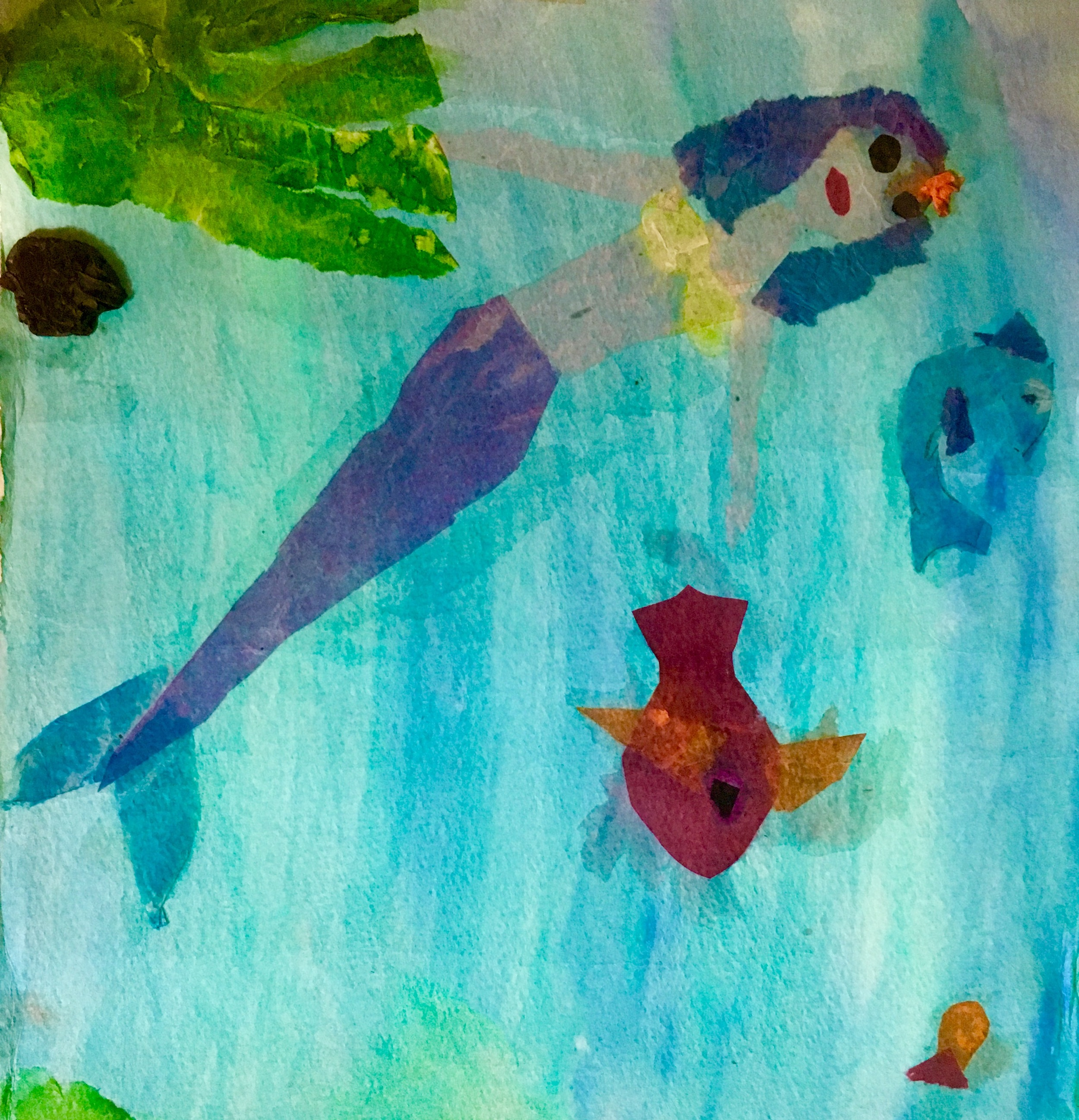 This bored, bug-eyed mermaid and her fishy friend was probably created during a school art class circa 1997. My older sister loved drawing mermaids, and I always copied her. She loved that.