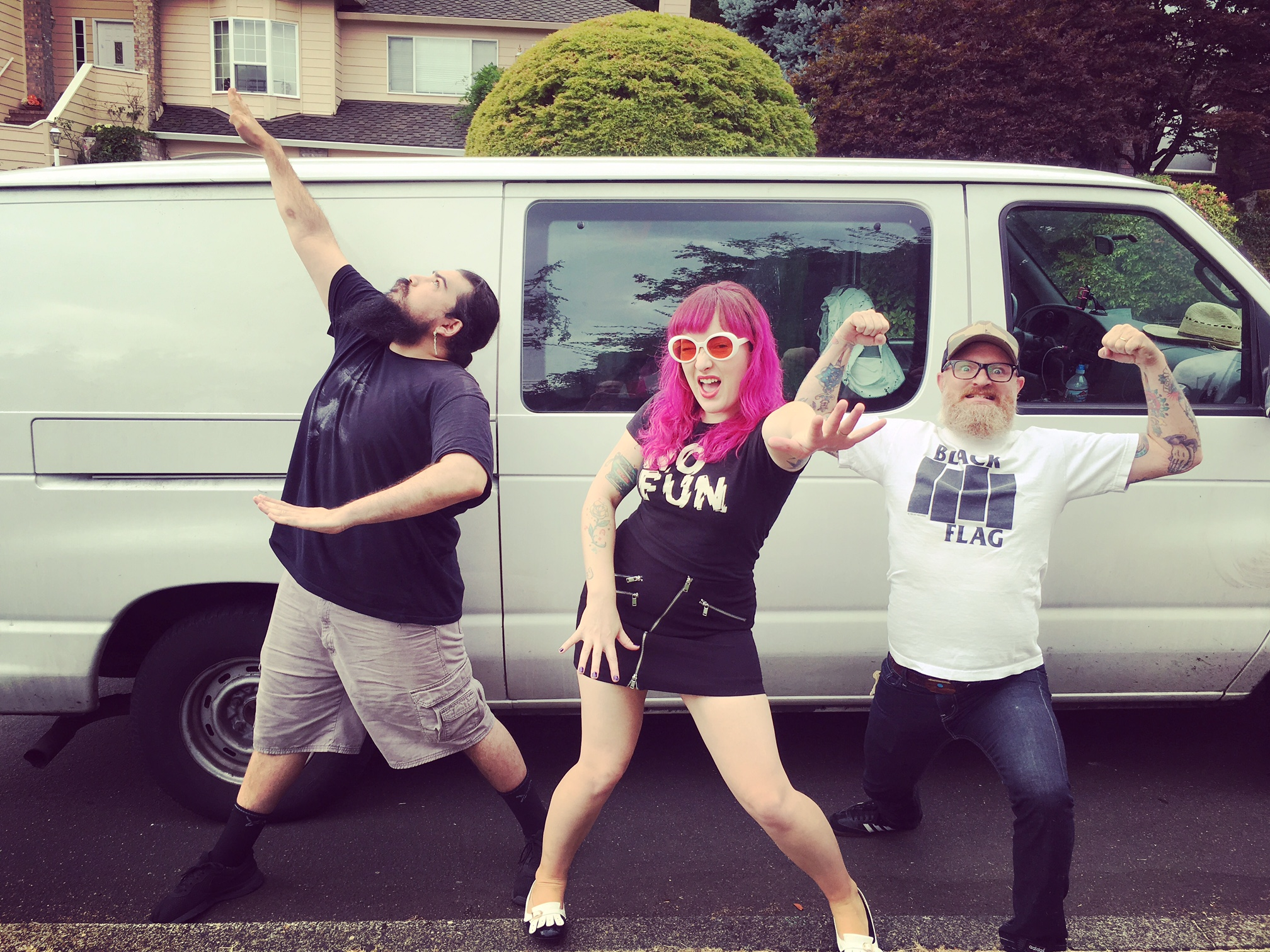 Pictured in action! Hayley and the Crushers in Portland after hanging with the family and eating some steak tacos! En route to Seattle with a gleam in our eye and a swagger in our hips! Tips for van living include: Bring an eye mask, fart respectfully, and never purchase a rare CD that indicates it contains rare early interviews with Metallica because it will just be Lars rambling up some cocaine-fueled jibber jabber.