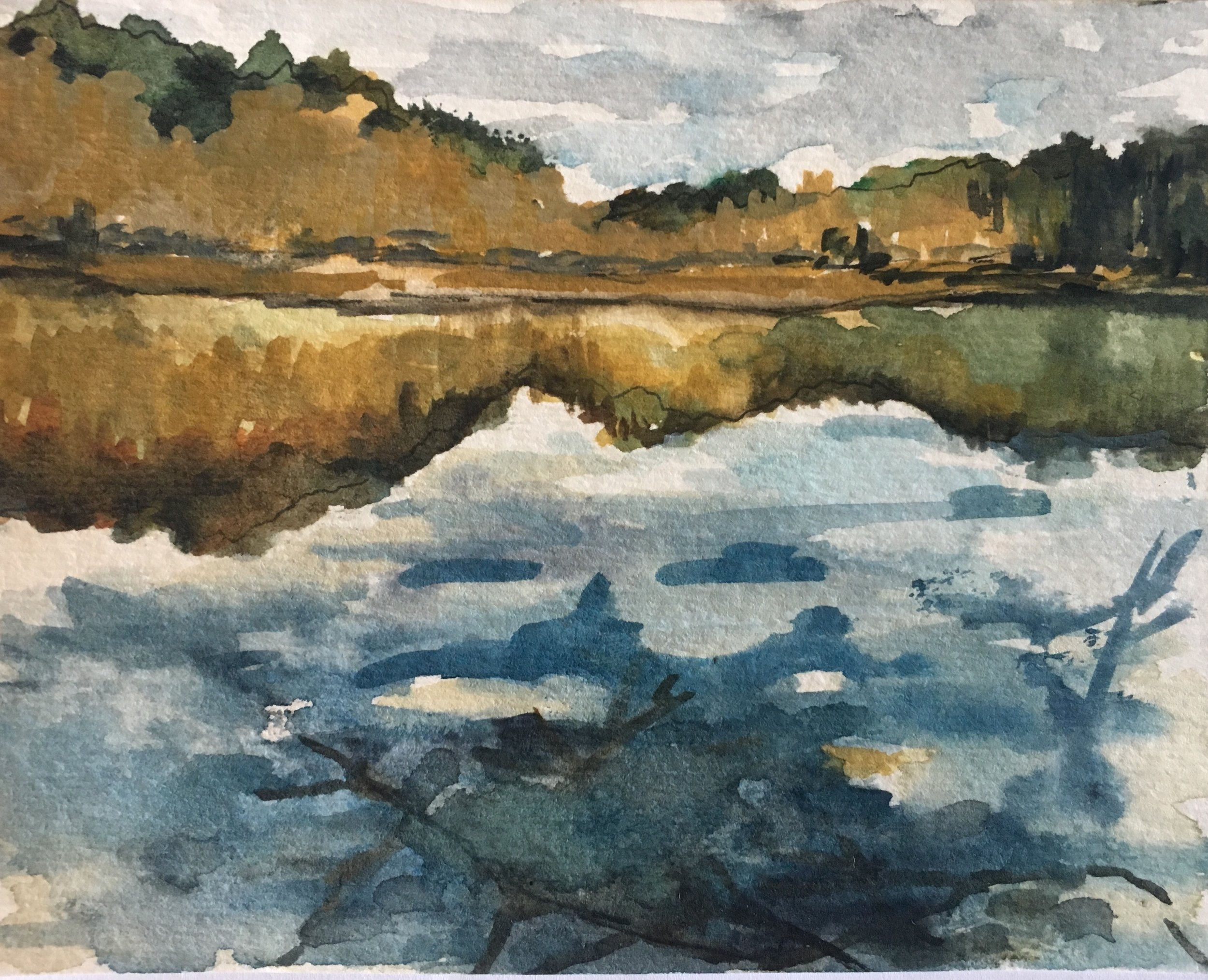 """Winter at Walden Pond, pt 2 , Watercolor and Ink on Paper, 4 x 5"""", 2017"""