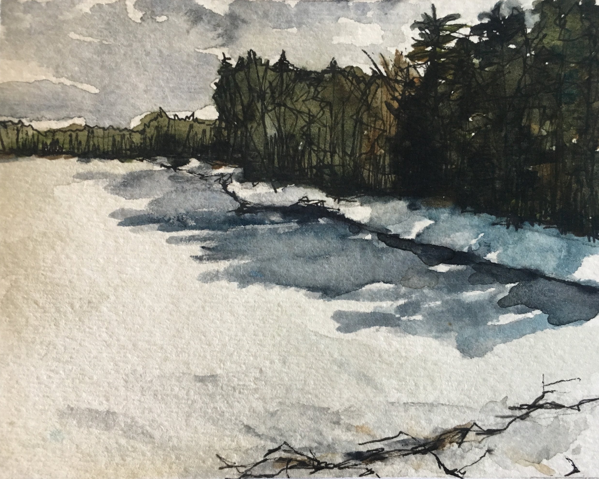Winter at Walden Pond, pt 1,  Watercolor and Ink on Paper, 2017