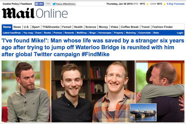 Finding Mike: The Stranger on the Bridge - Mail Online