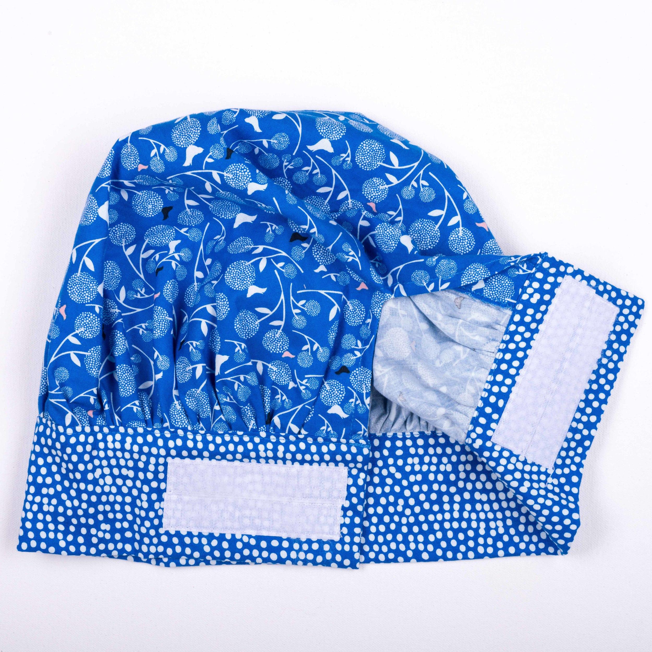Skoo KidsKitchen Blue Floral Print Chefs Hat Rear