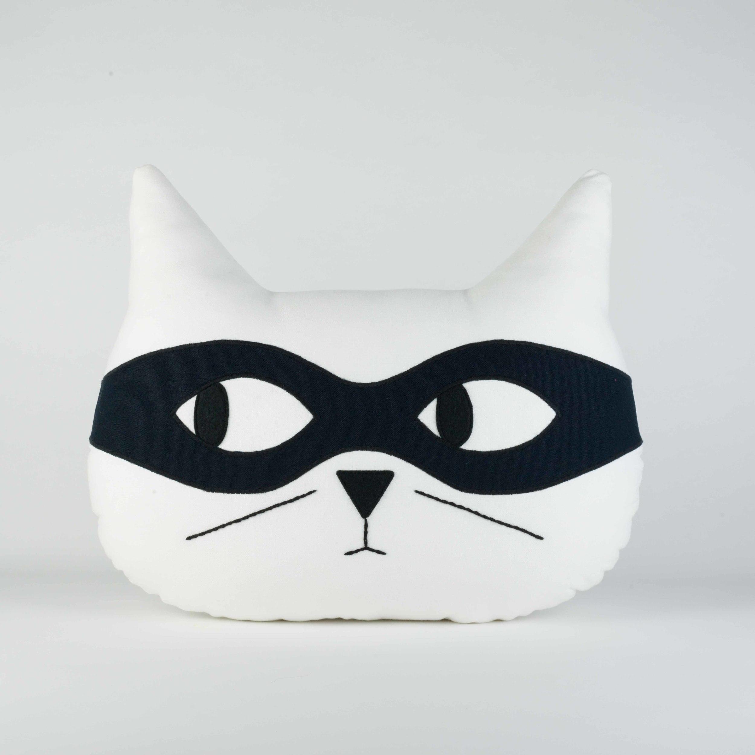 White with Black Mask - Cat Cushion