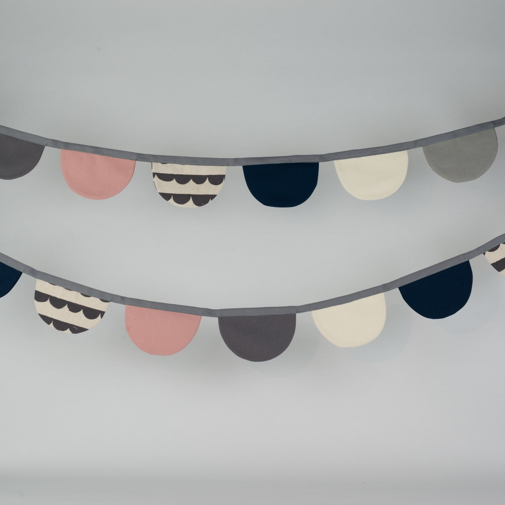 Dusky Pink & Monochrome with Scallop Print Bunting