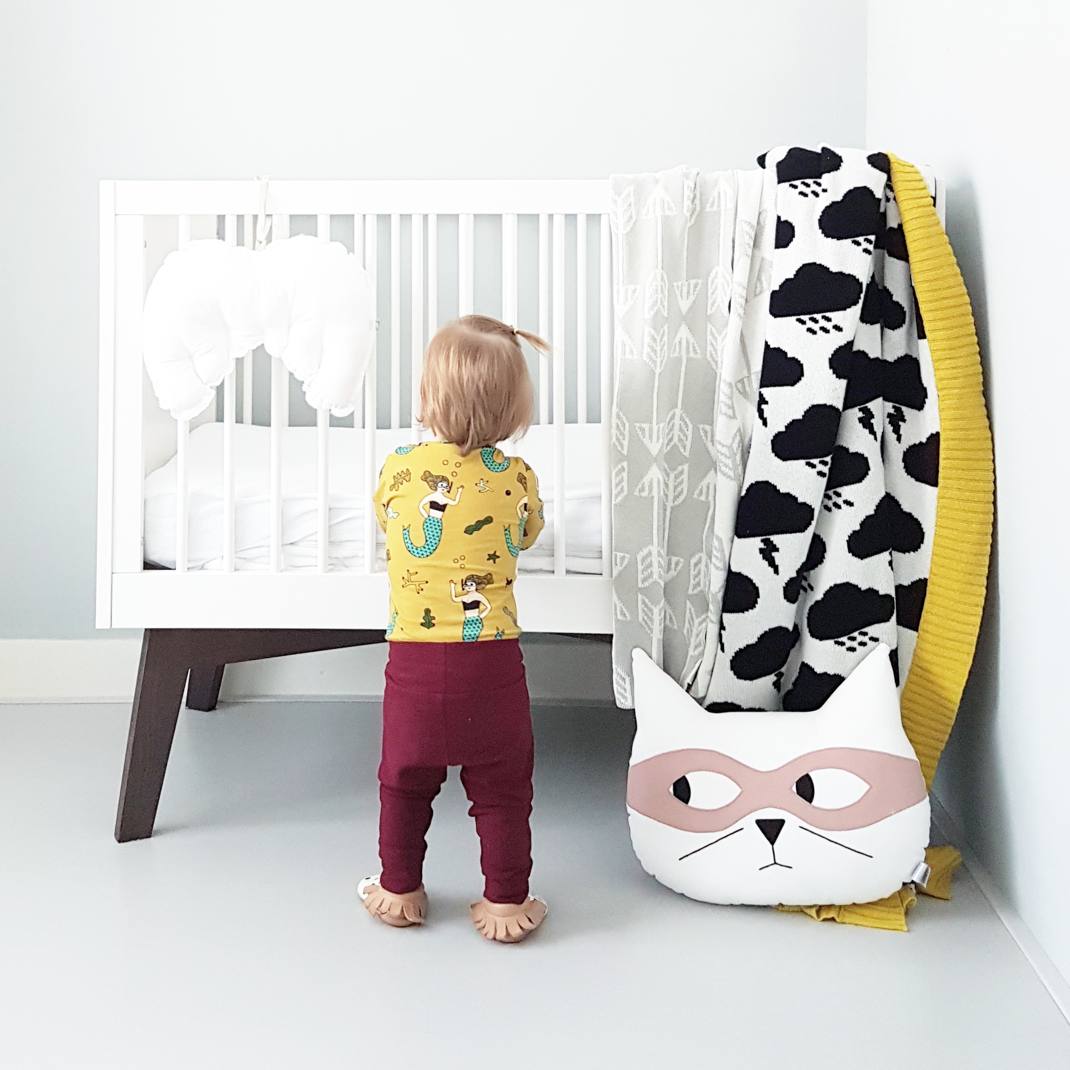 White Cat Cushion with Dusky Pink Mask