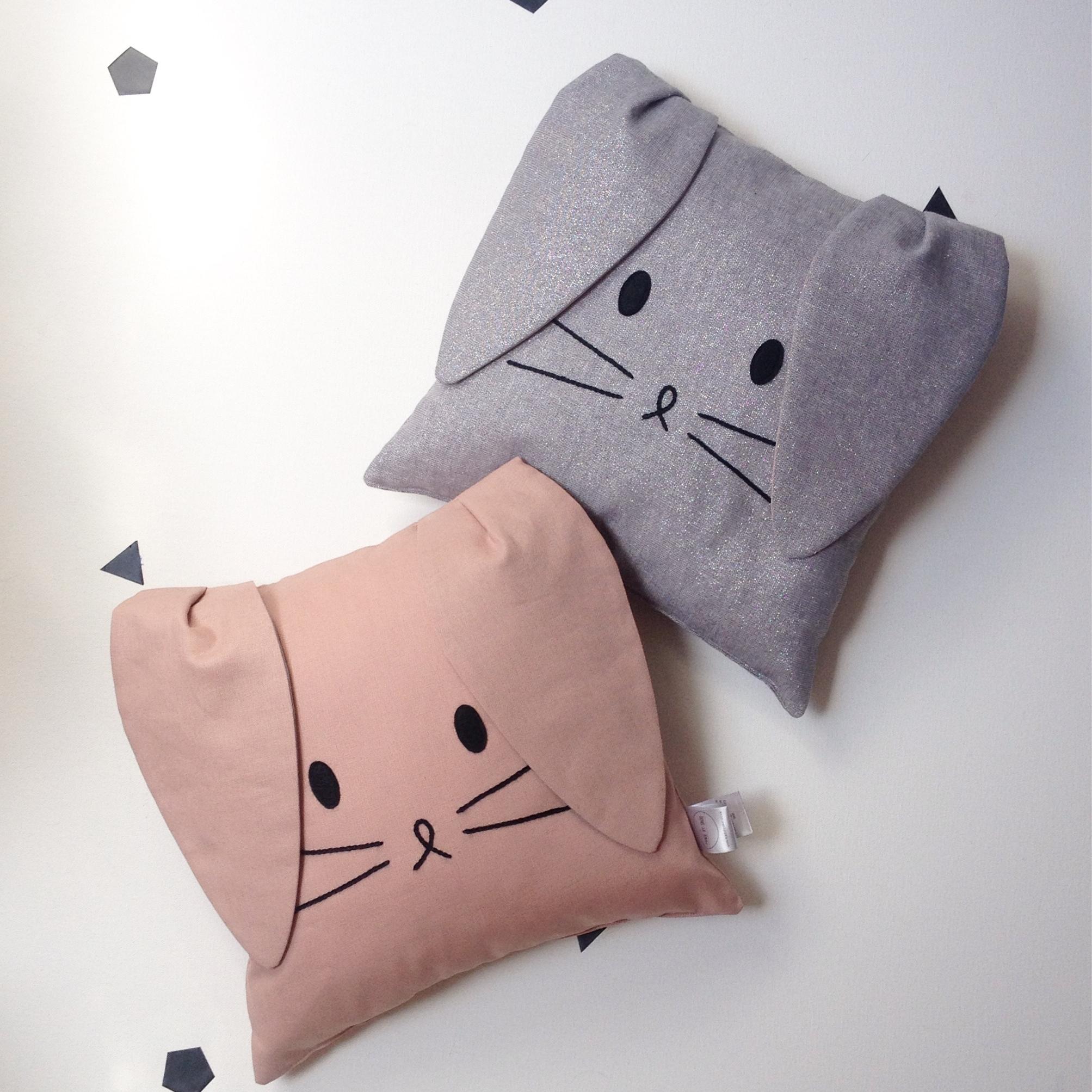 Grey Bunny Cushion & Dusky Pink Bunny Cushion