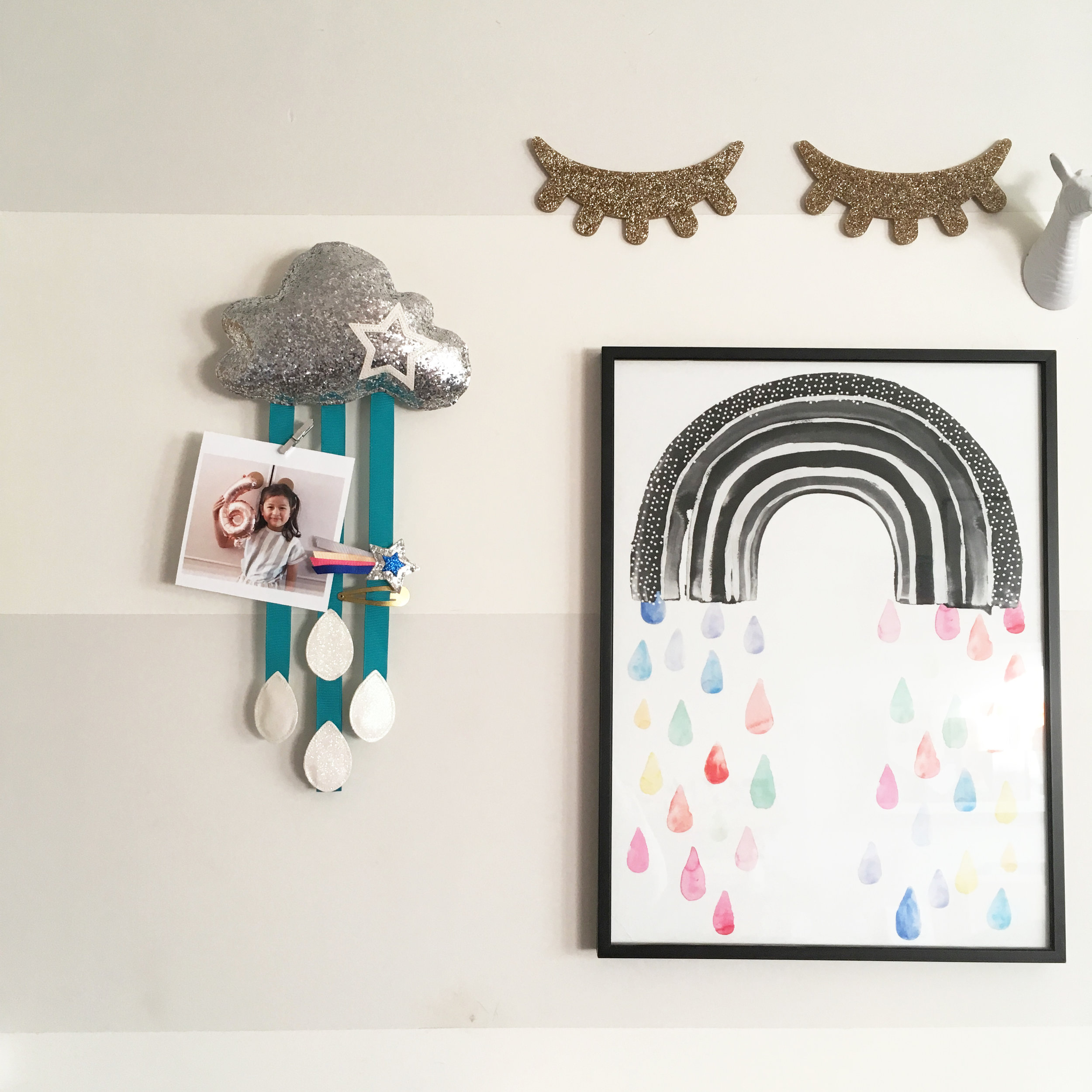Silver Glitter Cloud Catcher with Teal Ribbons