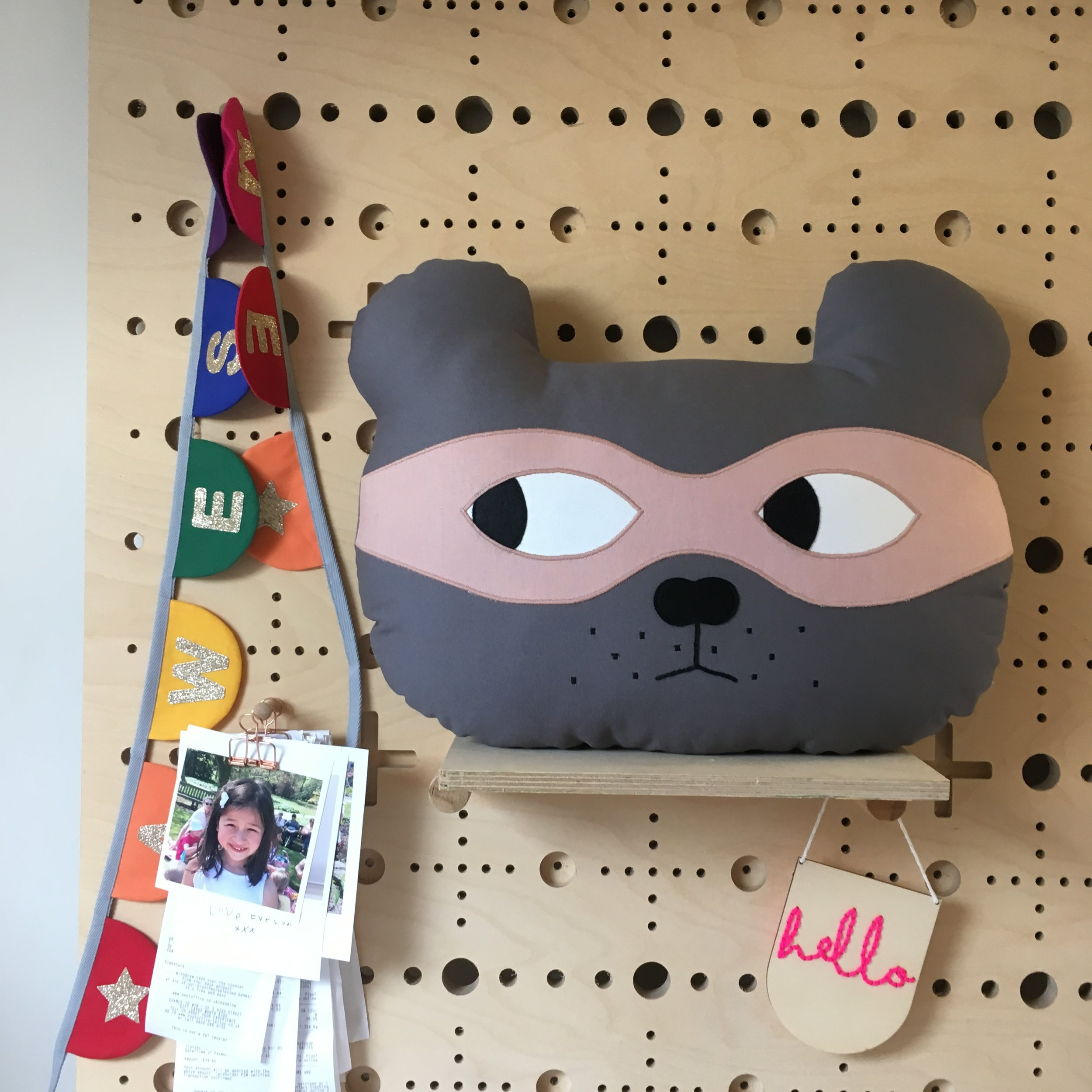 Grey Bear with Dusky Pink Mask
