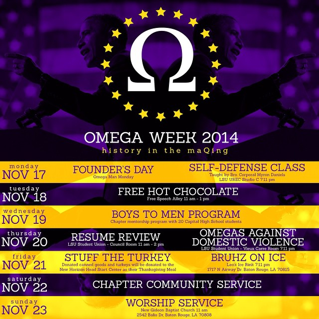 Omega Week is upon us. The brothers of Theta Kappa have a series of activities going on. Check out the schedule starting with tomorrow for Founder's Day Self Defense Class at the UREC. We are asking that you bring a can good to any activites during the week. Not Required to attend but accepted upon arrival.