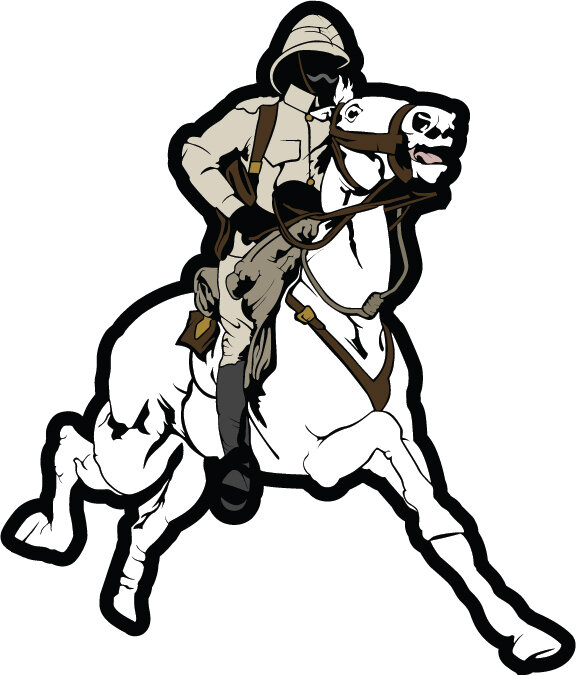 Vector design based on an illustration of a Victorian-era cavalry officer roughly during the era of the Boer Wars. A3-sized poster design, which was later resized and remade into a sticker size.