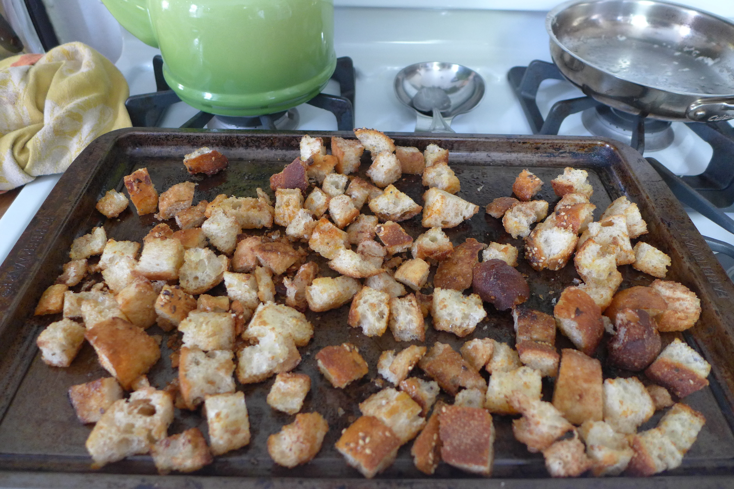 Bread cubes, after baked.