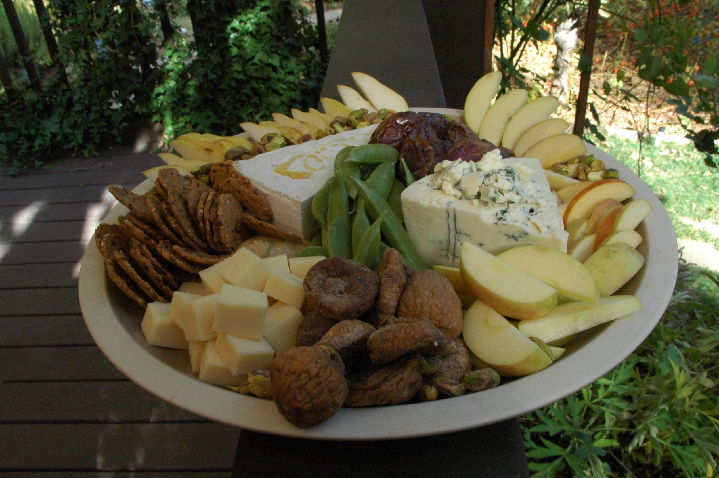 Abundant cheese platter, Saturday PM refreshment
