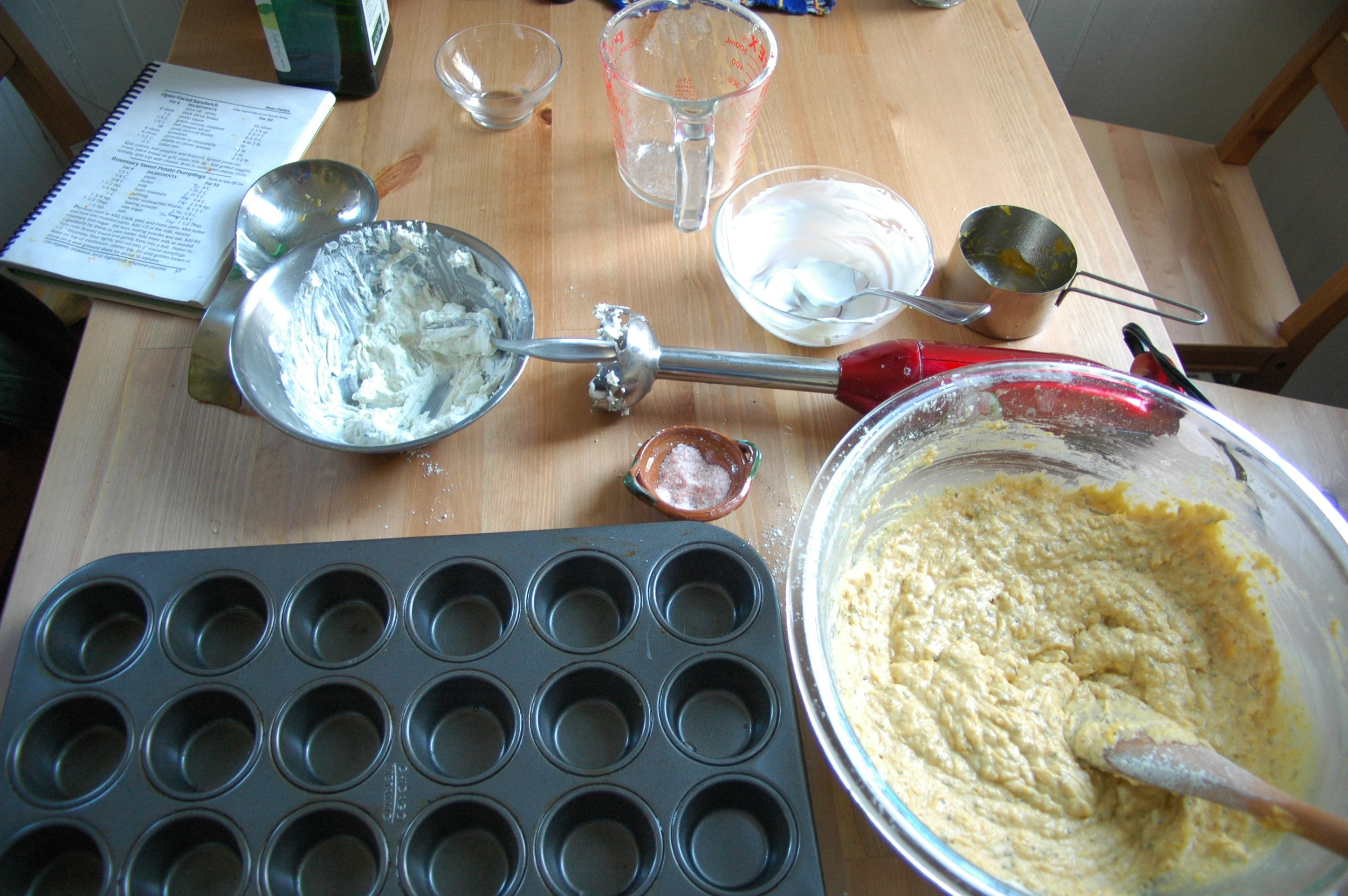 Finished batter on the right, goat cheese mixture up top :)