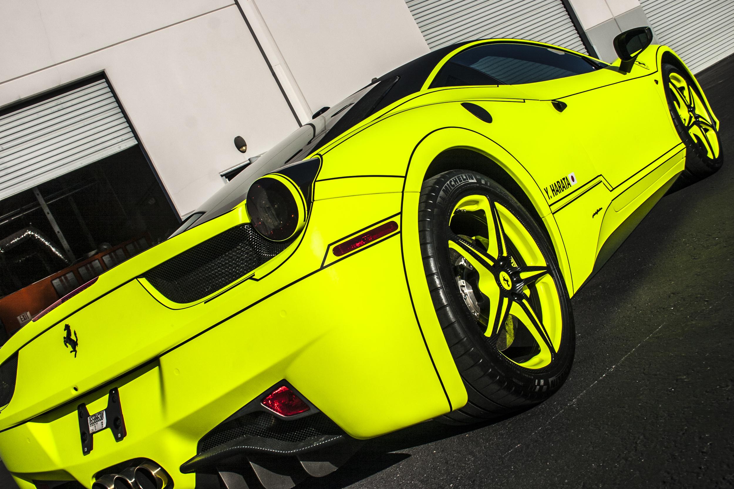 Ferrari 458 Italia , Matte Hi,Liter Yellow \u2014 Incognito Wraps