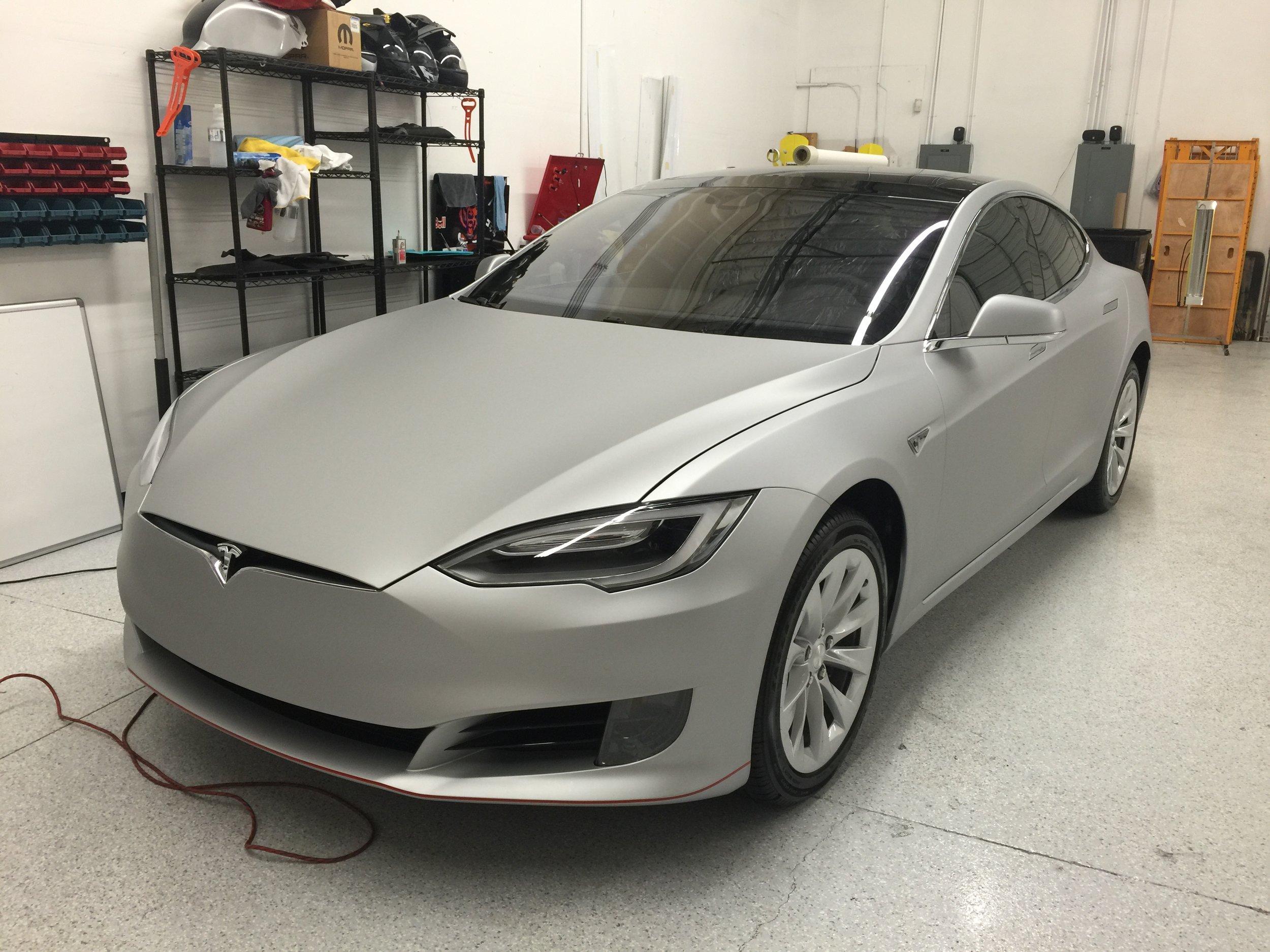 Tesla Model S - Matte Silver Wrap