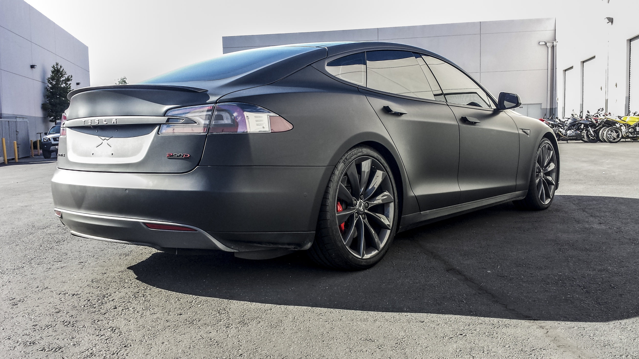 Tesla Model S - All Matte Black, including Chrome Delete and Limo Window Tint