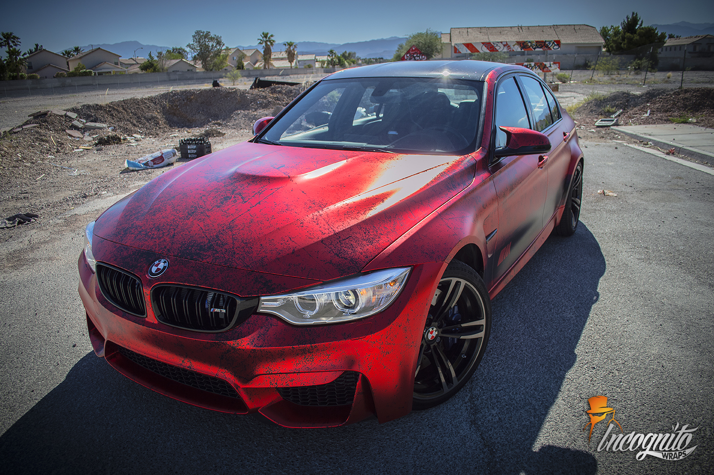 Bmw M3 Satin Red Chrome Incognito Wraps