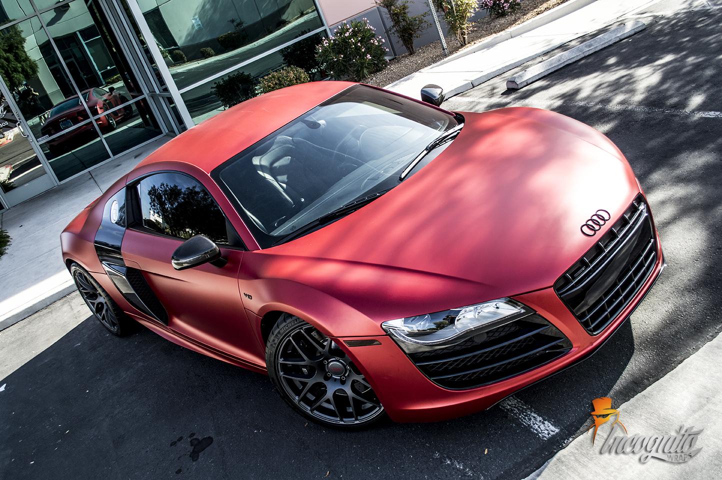 Audi R8 Matte Red Iced Titanium Incognito Wraps