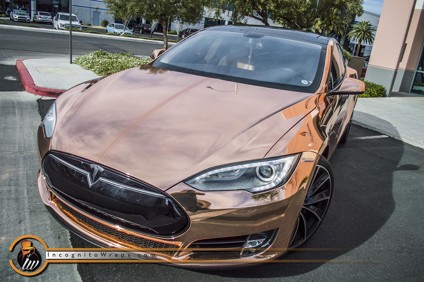 Tesla Model S Rose Gold Chrome Incognito Wraps