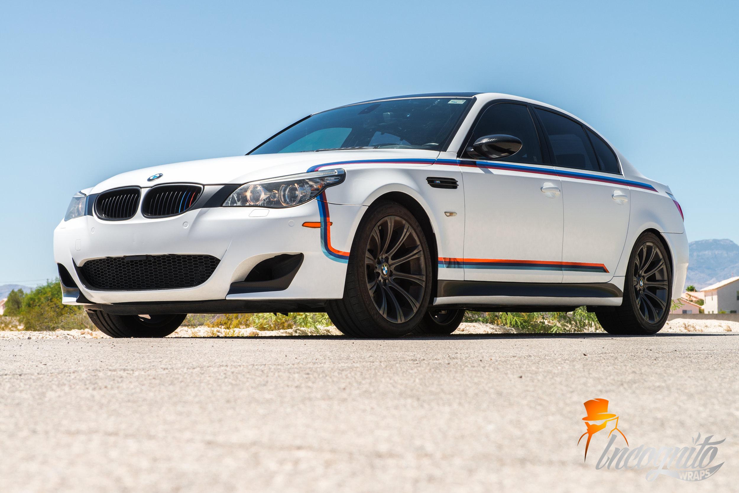BMW M5 Satin White Chrome M Stripes