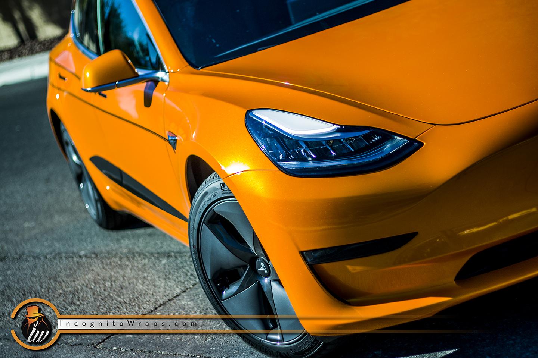 Tesla Model 3 Ocherous Orange
